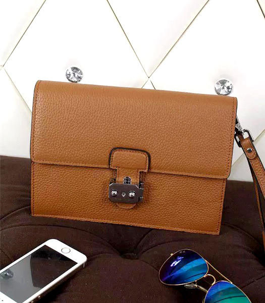 Hermes New Style Litchi Veins Leather Clutch Earth Yellow