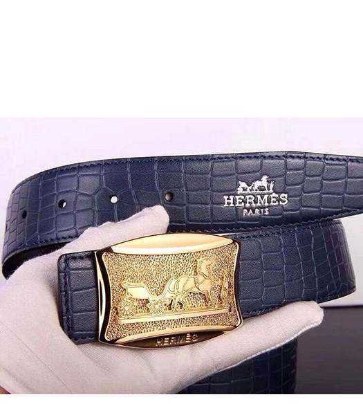Hermes Latest Grid Calfskin Sapphire Blue Belt Golden Metal