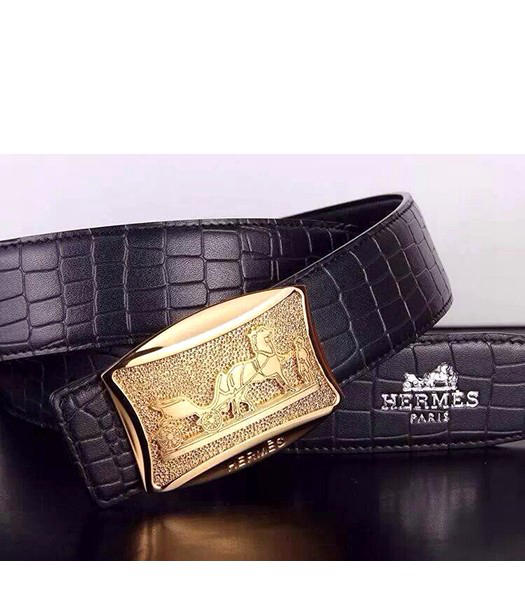 Hermes Latest Grid Calfskin Black Belt Golden Metal