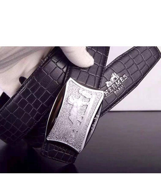 Hermes Latest Grid Calfskin Black Belt Silver Metal