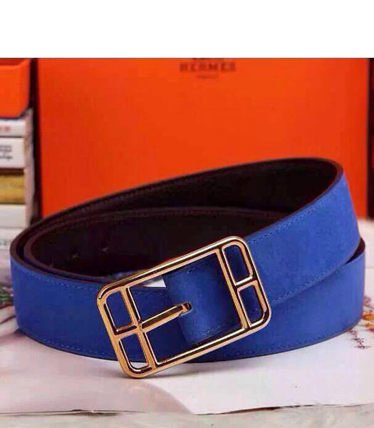 Hermes Latest Top-quality Calfskin Blue Belt Golden Metal