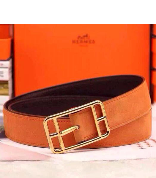 Hermes Latest Top-quality Calfskin Orange Belt Golden Metal