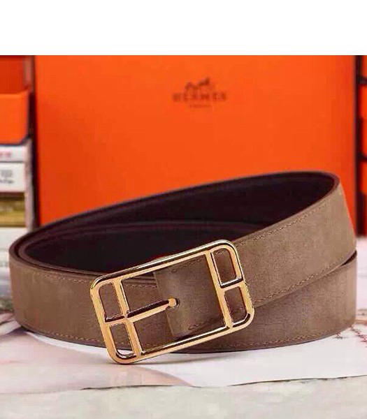 Hermes Latest Top-quality Calfskin Light Coffee Belt Golden Metal