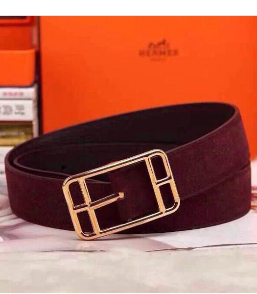 Hermes Latest Top-quality Calfskin Wine Red Belt Golden Metal