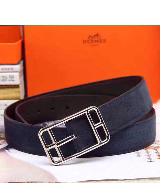 Hermes Latest Top-quality Calfskin Dark Blue Belt Silver Metal