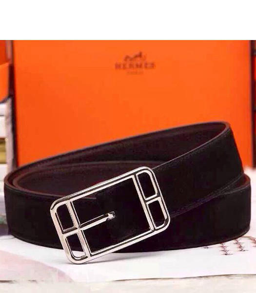 Hermes Latest Top-quality Calfskin Black Belt Silver Metal