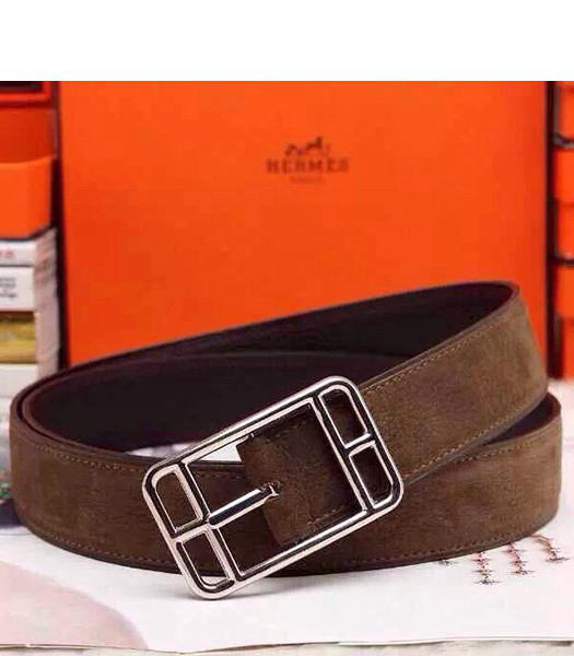 Hermes Latest Top-quality Calfskin Brown Belt Silver Metal
