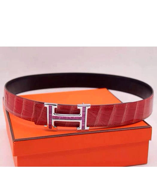 Hermes Latest Watermelon Red Leather Purple Diamond Belt Silver Metal
