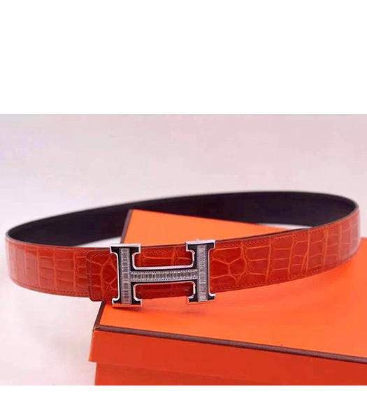 Hermes Latest Red Leather White Diamond Belt Black Metal