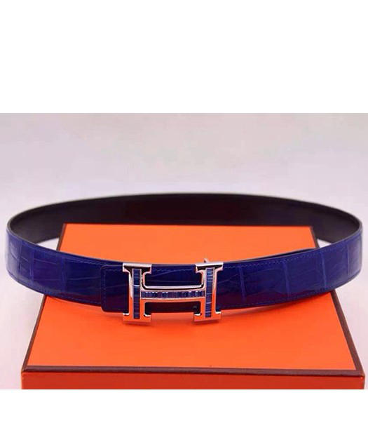 Hermes Latest Blue Leather Blue Diamond Belt Silver Metal