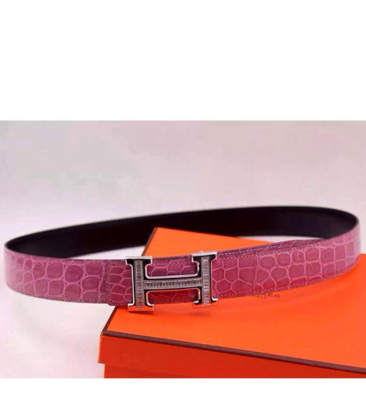 Hermes Latest Pink Leather White Diamond Belt Black Metal