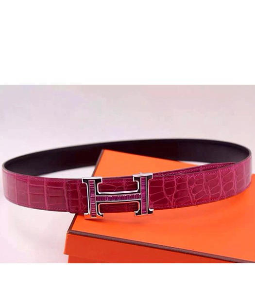 Hermes Latest Fuchsia Leather Purple Diamond Belt Black Metal