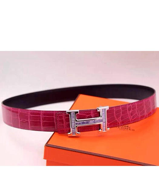 Hermes Latest Fuchsia Leather Light Purple Diamond Belt Black Metal