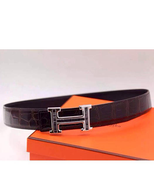 Hermes Latest Black Leather Black Diamond Belt Silver Metal