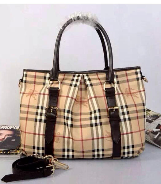 Burberry Horse Damier Canvas With Coffee Leather Shoulder Handbag