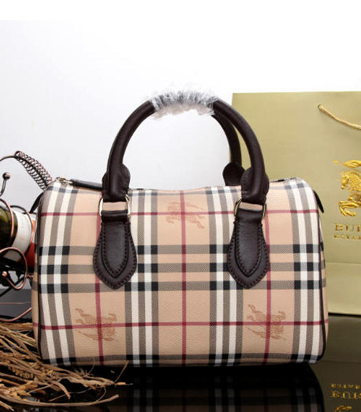 Burberry Horse Damier Fabric With Coffee Leather Small Shoulder Handbag