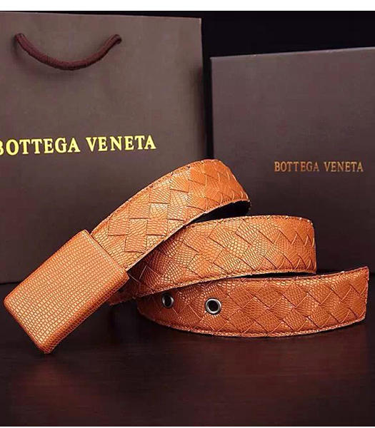 Bottega Veneta Calfskin Lizard Veins Earth Yellow Weave Belt