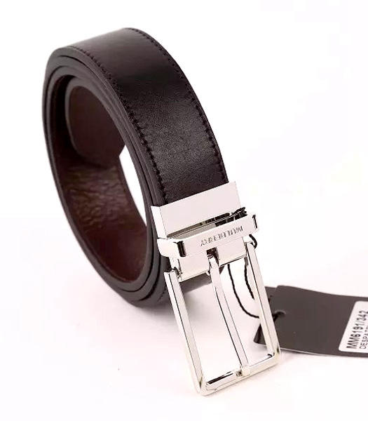 Mulberry Rotary Buckle Double Side Used Black Men Belt Silver Metal