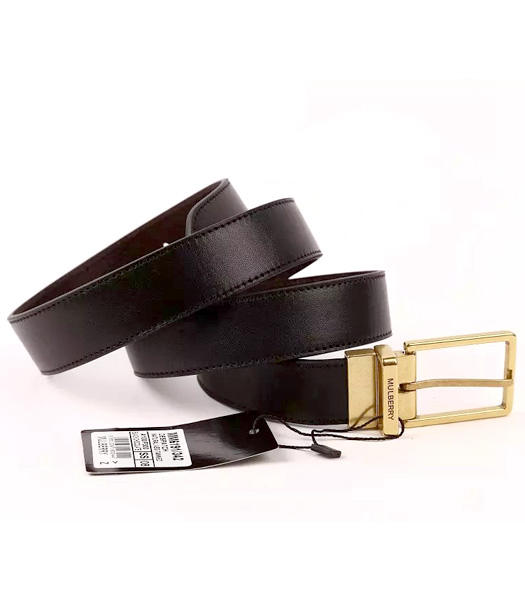 Mulberry Rotary Buckle Double Side Used Black Men Belt Golden Metal