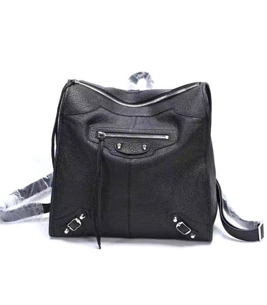 Balenciaga Black Original Sheepskin Backpack Silver Nails