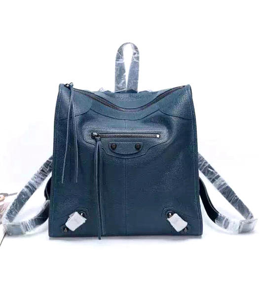 Balenciaga Sapphire Blue Original Sheepskin Backpack Gun Nails