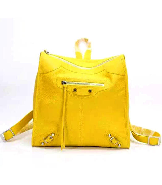 Balenciaga Yellow Original Sheepskin Backpack Silver Nails