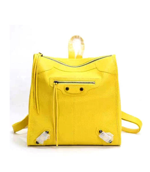 Balenciaga Yellow Original Sheepskin Backpack Gun Nails