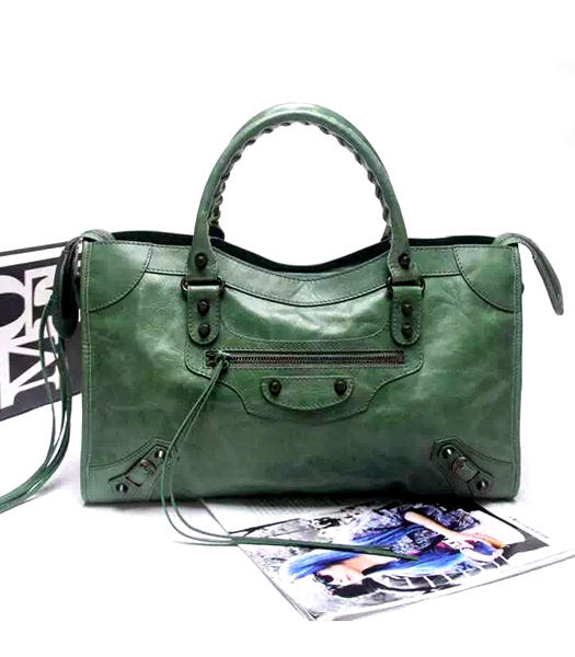 Balenciaga Motorcycle City Handbags in Dark Green Imported Leather Gun Nails