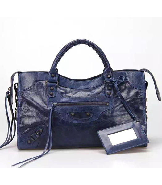 Balenciaga Motorcycle City Handbags in Dark Blue Imported Leather Gun Nails