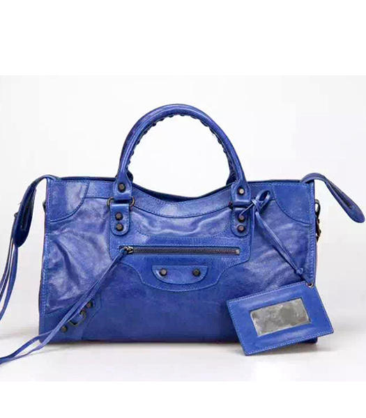 Balenciaga Motorcycle City Handbags in Blue Imported Leather Gun Nails