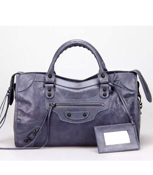 Balenciaga Motorcycle City Handbags in Dark Grey Imported Leather Gun Nails