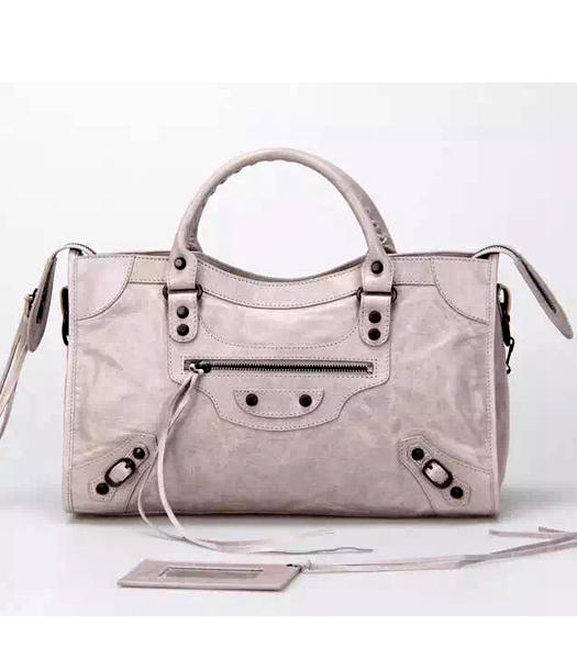 Balenciaga Motorcycle City Handbags in Light Grey Imported Leather Gun Nails