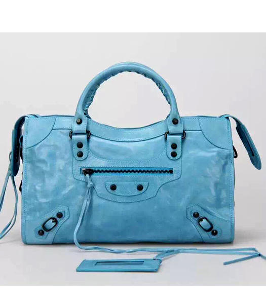 Balenciaga Motorcycle City Handbags in Light Blue Imported Leather Gun Nails