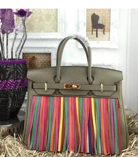 Hermes Birkin 25cm Tassel Tote Bags Grey Leather Golden Metal