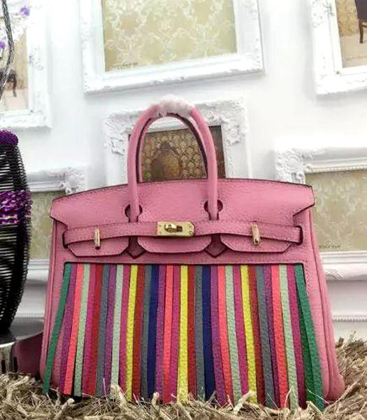Hermes Birkin 25cm Tassel Tote Bags Cherry Pink Leather Golden Metal