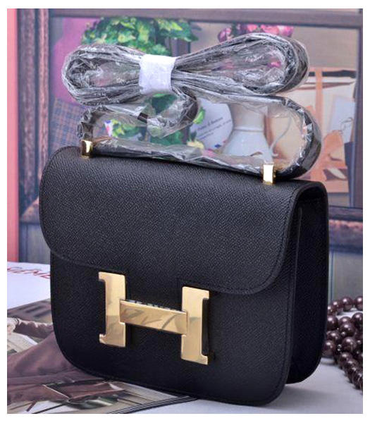 Hermes Constance Mini Handbags Black Palm Print Leather
