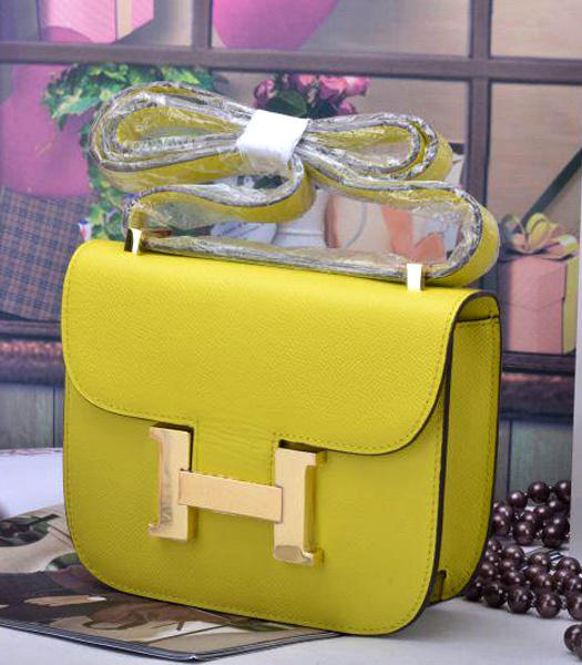 Hermes Constance Mini Handbags Lemon Yellow Palm Print Leather