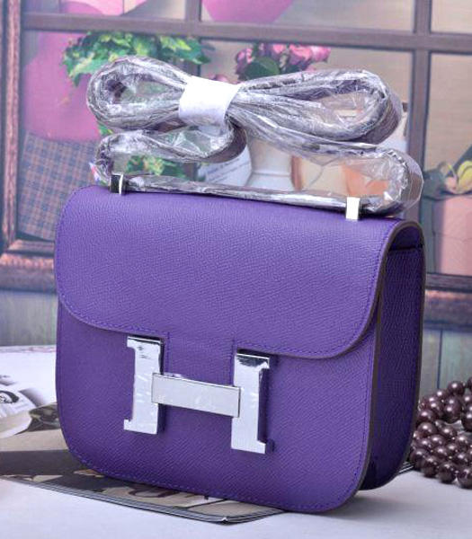 Hermes Constance Mini Handbags Purple Palm Print Leather
