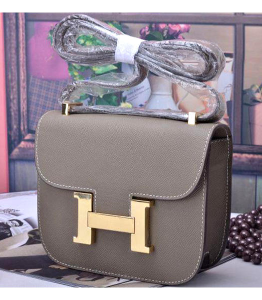 Hermes Constance Mini Handbags Grey Palm Print Leather