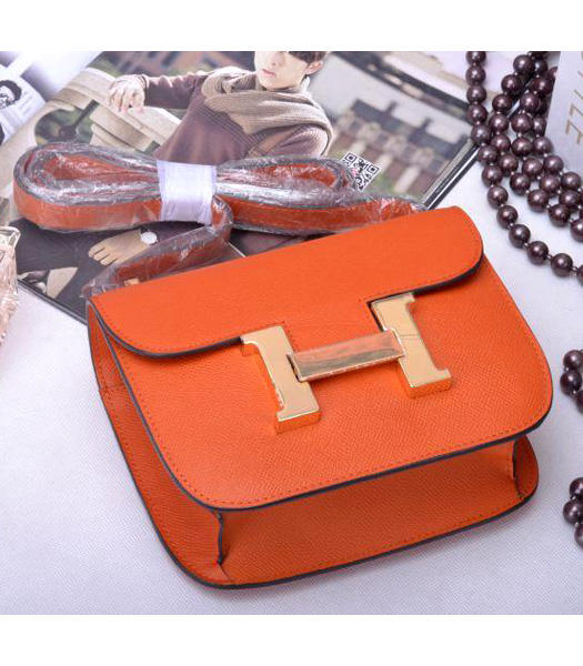 Hermes Constance Mini Handbags Orange Palm Print Leather
