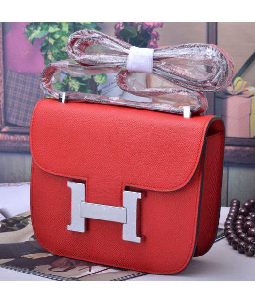 Hermes Constance Mini Handbags Red Palm Print Leather