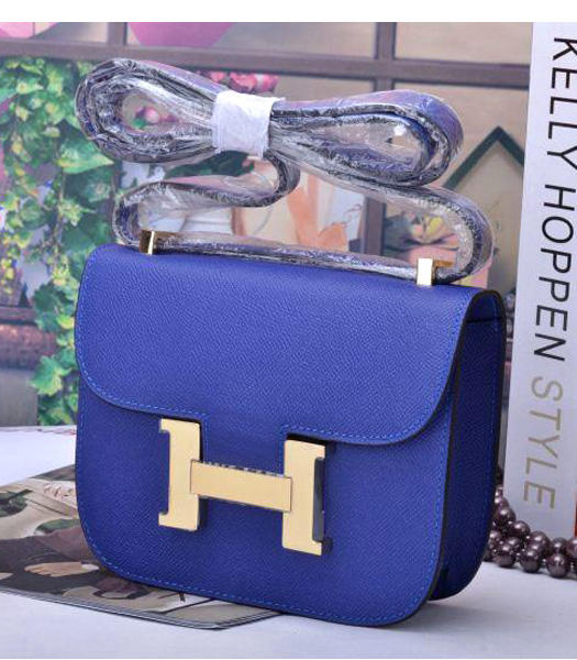 Hermes Constance Mini Handbags Electric Blue Palm Print Leather