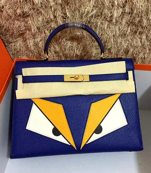 Hermes Kelly 32cm Eye Pattern Violet Leather Golden Lock