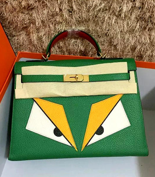 Hermes Kelly 32cm Eye Pattern Green Leather Golden Lock