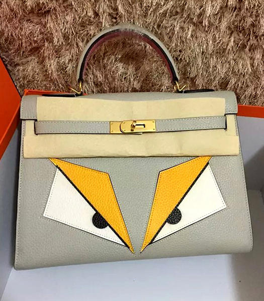 Hermes Kelly 32cm Eye Pattern Light Grey Leather Golden Lock