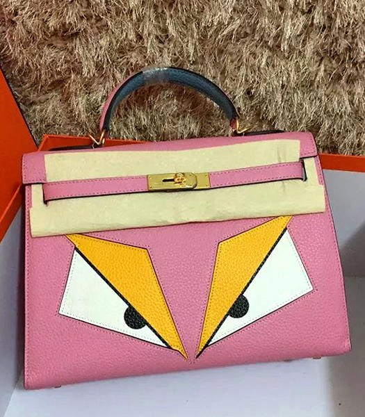 Hermes Kelly 32cm Eye Pattern Cherry Pink Leather Golden Lock