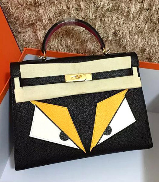 Hermes Kelly 32cm Eye Pattern Black Leather Golden Lock