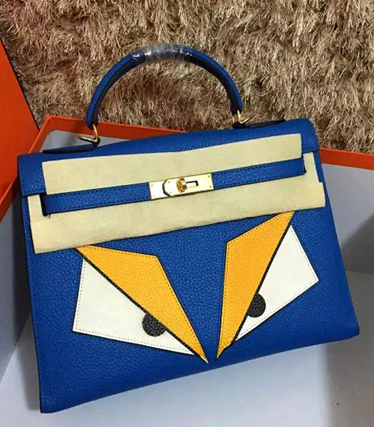 Hermes Kelly 32cm Eye Pattern Lake Blue Leather Golden Lock