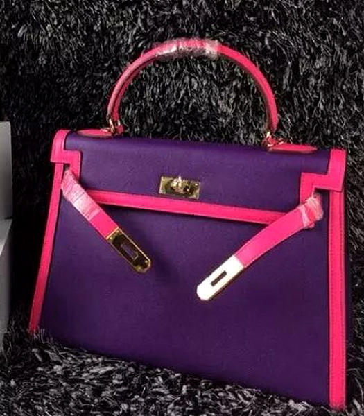 Hermes Kelly 32cm Palmprint Leather Purple/Plum Red Golden Lock