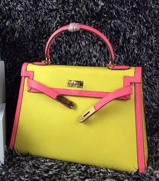 Hermes Kelly 32cm Palmprint Leather Lemon/Lipstick Pink Golden Lock